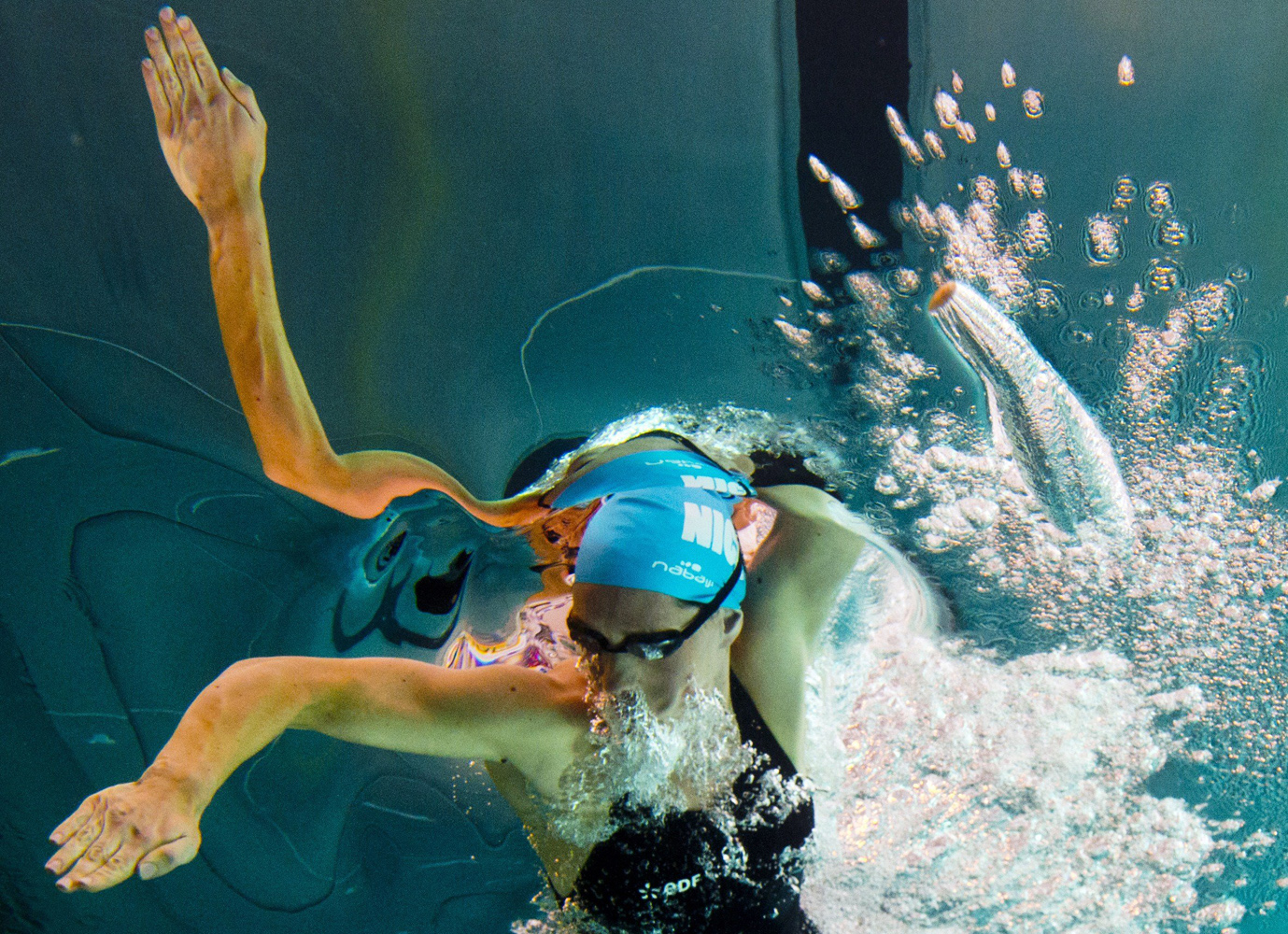 Apr. 10, 2014. France's Camille Muffat on her way to win the women's 100m freestyle final during  the French Swimming championships in Chartres.