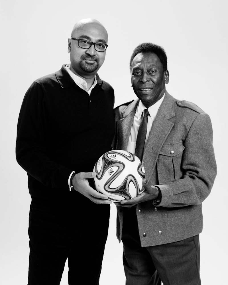 TIME's International Editor Bobby Ghosh, left, with Pelé.
