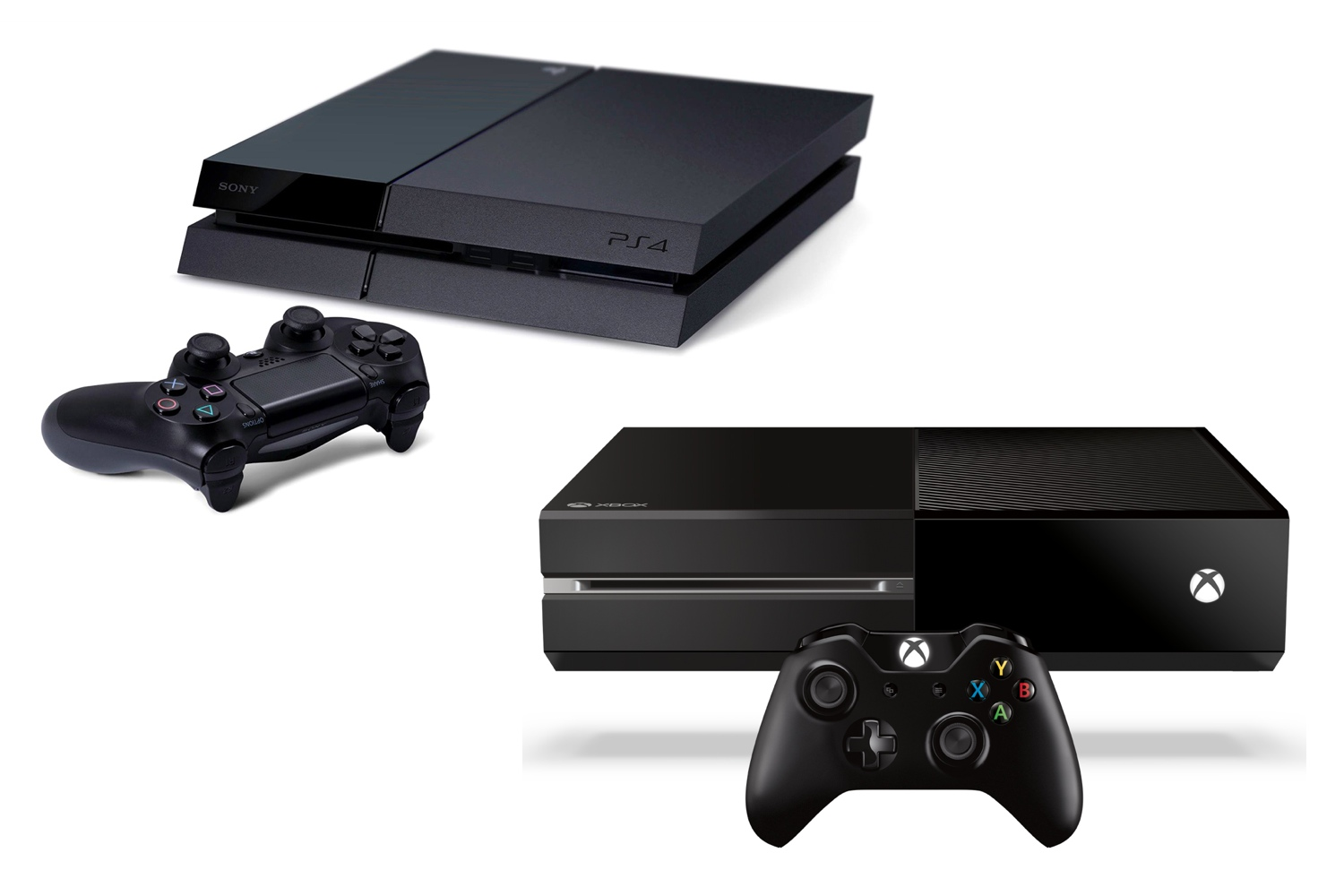 Sony's PlayStation 4 (upper-left) and Microsoft's Xbox One (lower-right).