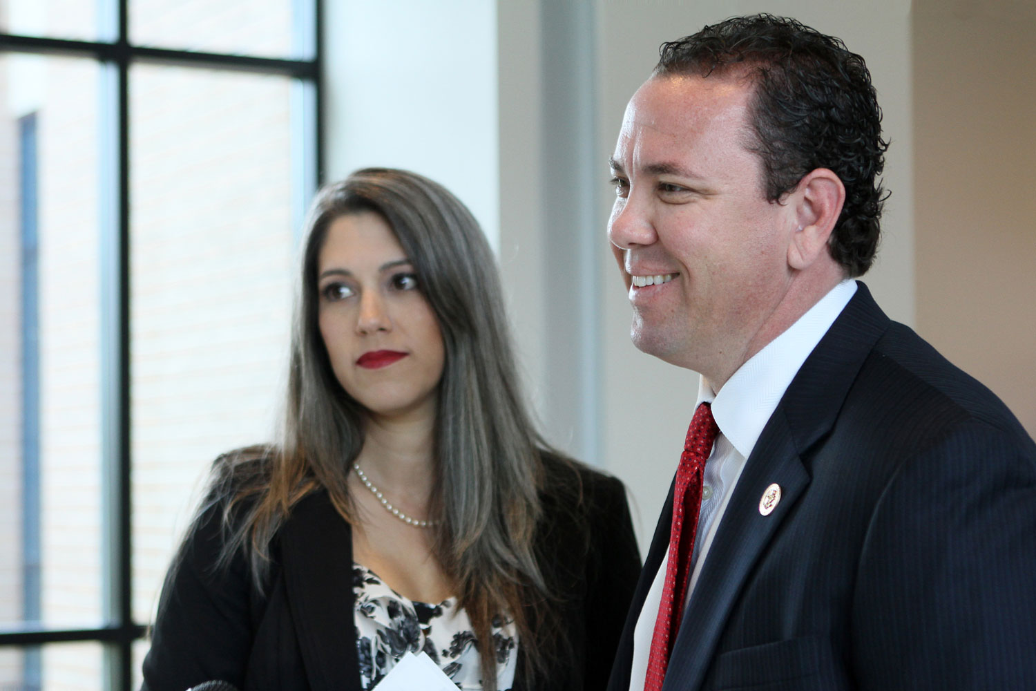 Republican Rep. Vance McAllister, right, and his wife Kelly, check in at Monroe Regional Airport on their way to Washington, in Monroe, La., Monday, April 28, 2014.