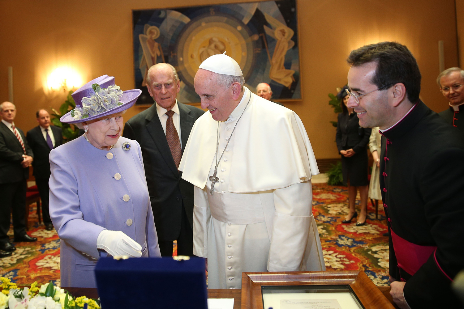 Queen Elizabeth II and Prince Philip, Duke of Edinburgh, have an audience with Pope Francis, during their one-day visit to Rome on April 3, 2014 in Vatican City, Vatican.