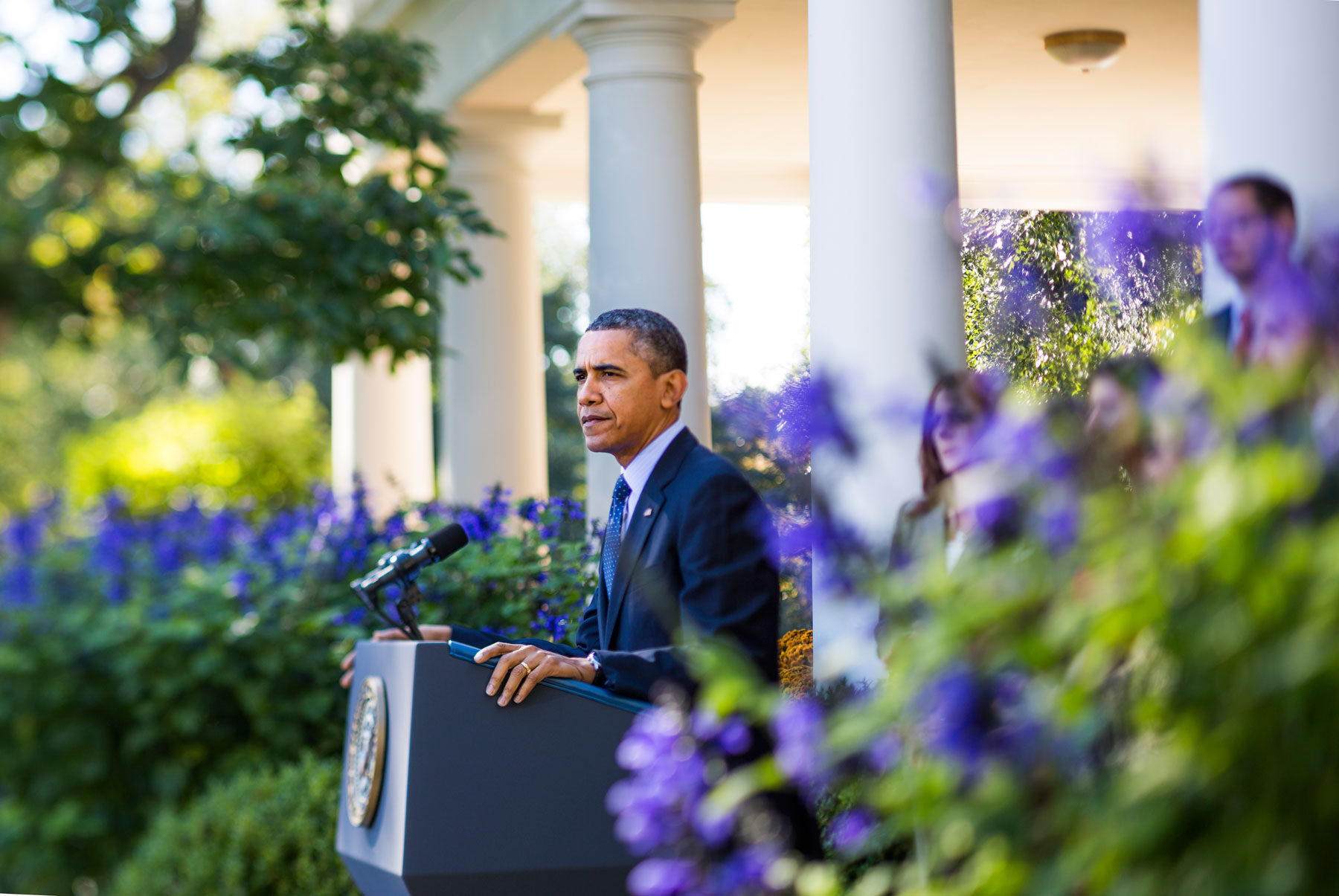 The President speaks about the Affordable                     Care Act from the Rose Garden.