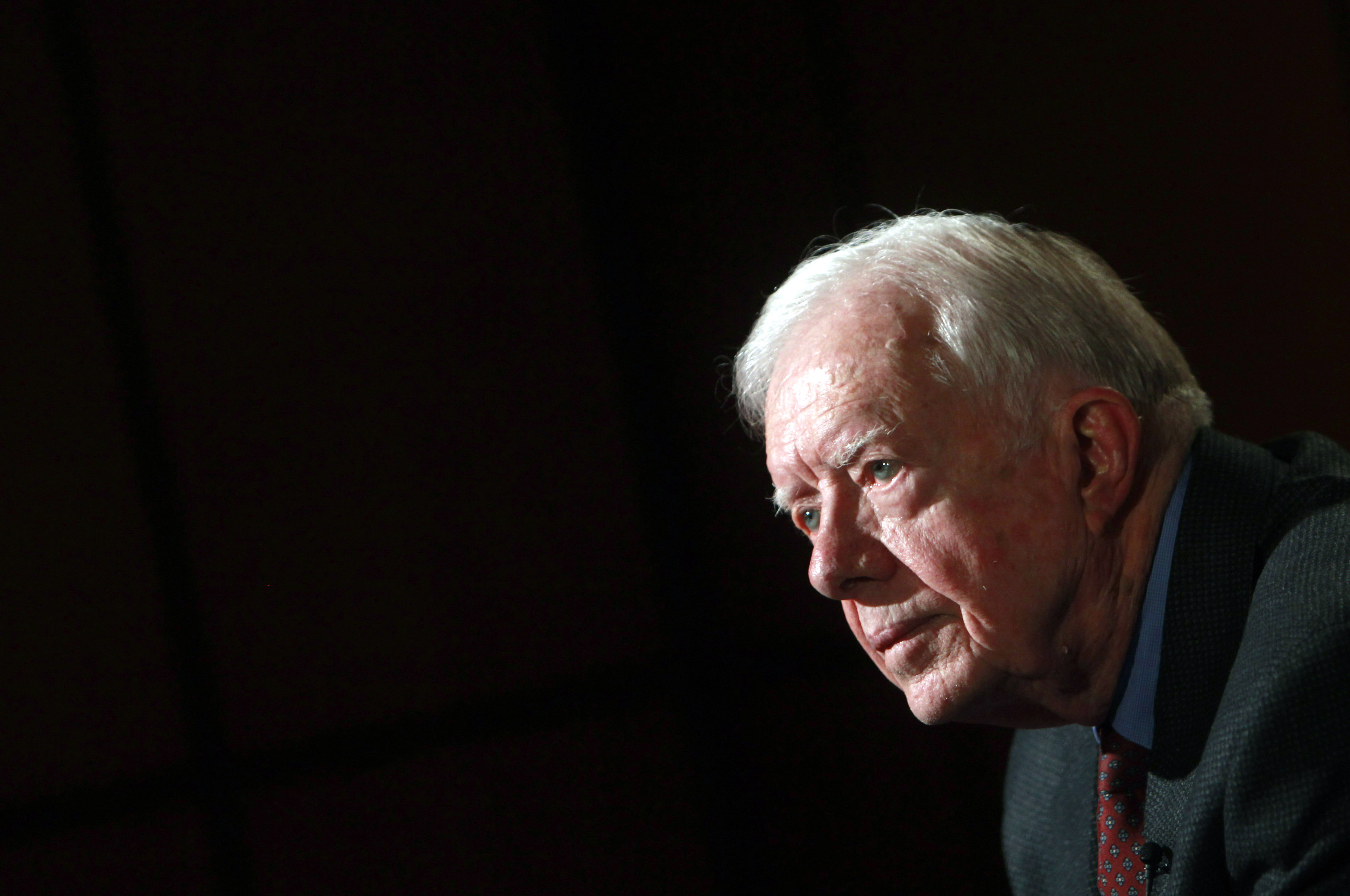 Former U.S. President Jimmy Carter attends an interview with Reuters in Cairo on Jan. 12, 2012.