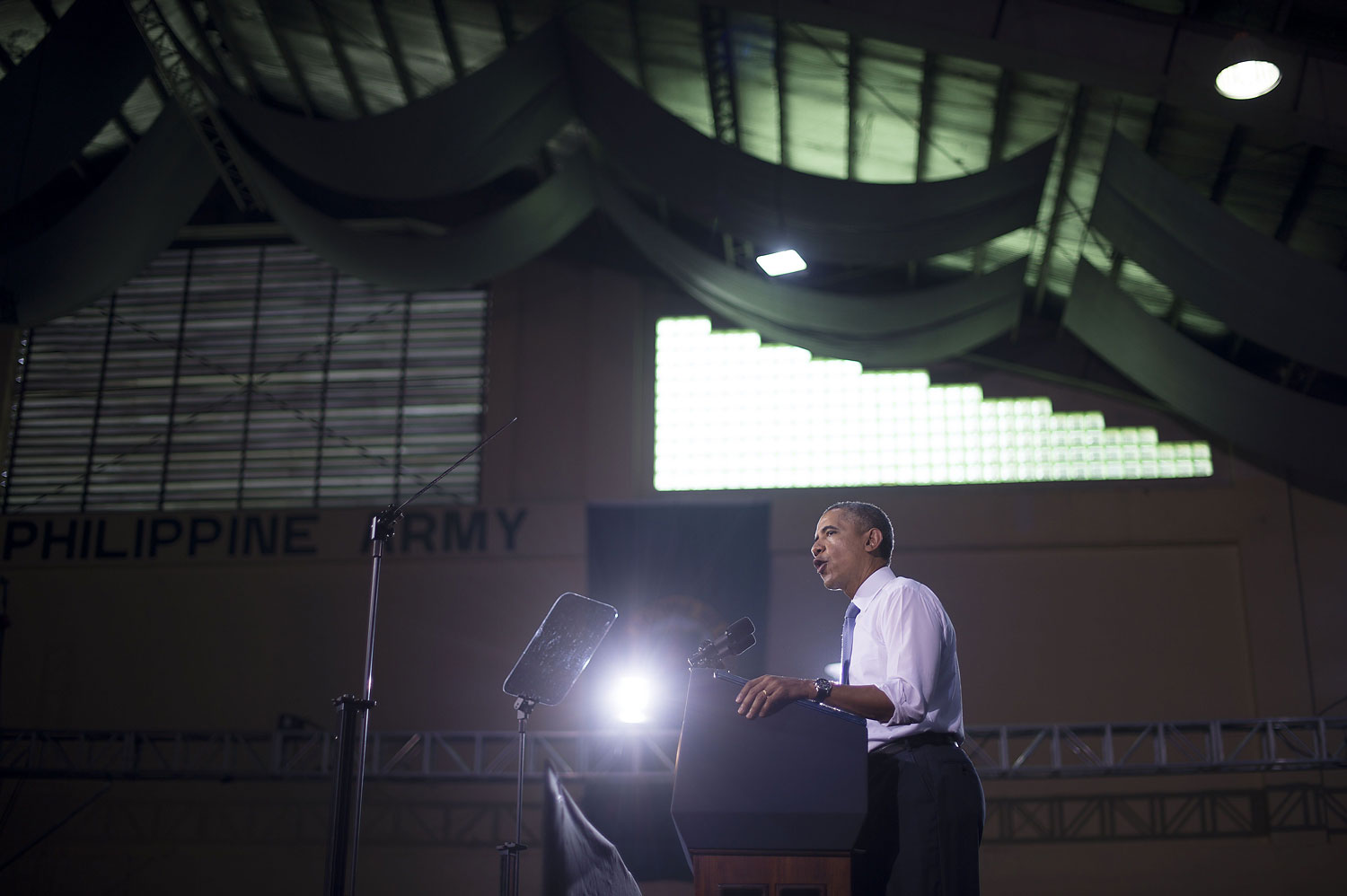 U.S. President Barack Obama delivers remarks to U.S. and Philippine troops at Fort Bonifacio in Manila on April 29, 2014