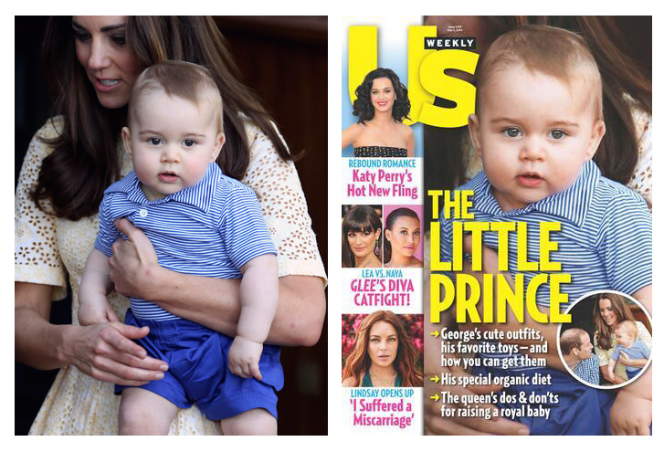 Prince George in the original picture and the Us Weekly cover