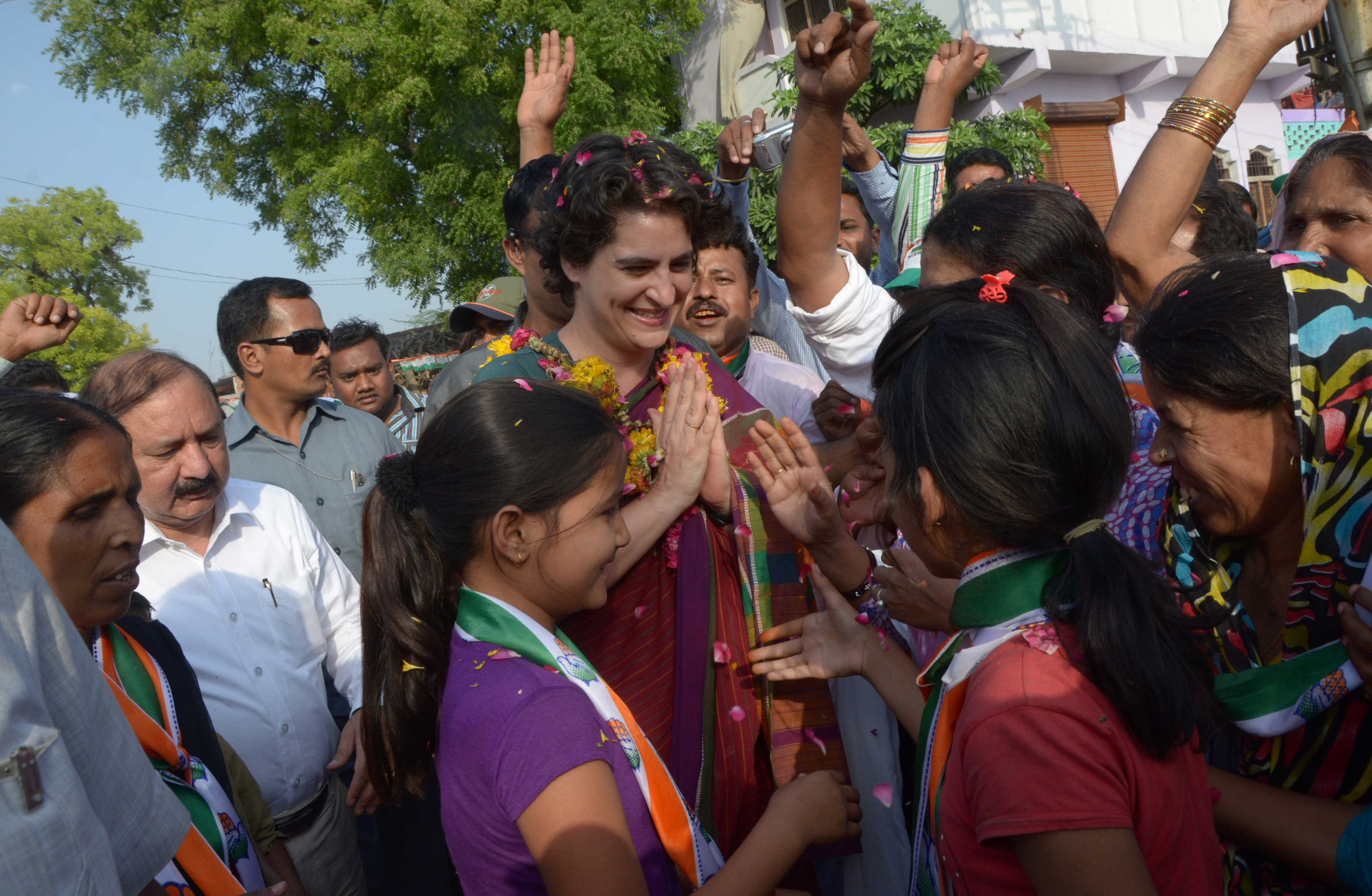 Priyanka Gandhi Vadra during a road-show campaign for her mother, Congress president Sonia Gandhi, in Raebareli, India, on April 23, 2014