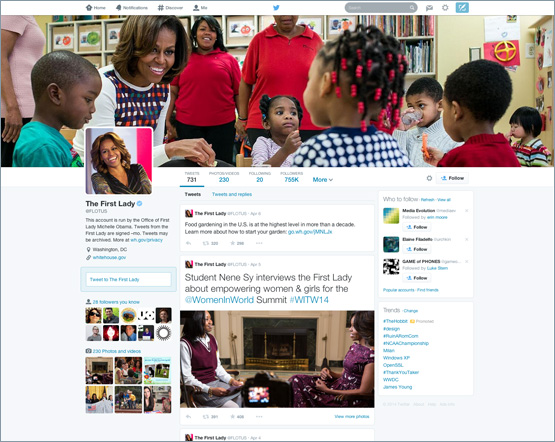 First Lady Michelle Obama's Twitter profile sports a new design.