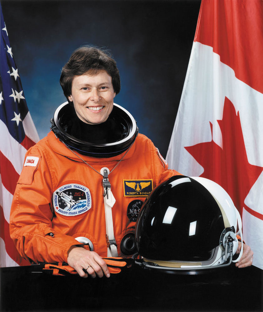Canada's first female astronaut—and a neurologist as well—Roberta Bondar flew aboard the space shuttle in 1992