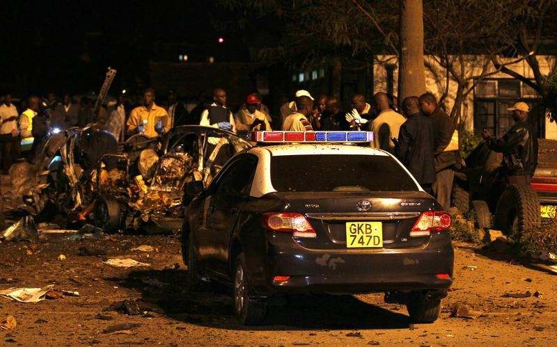 A car exploded outside the Pangani police station in Kenya's capital Nairobi on April 23, 2014, killing four people.