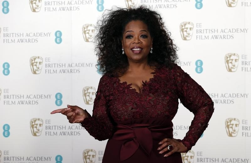 Oprah Winfrey has won a legal battle over her former stepmom. Here she is seen at the BAFTA awards ceremony in London on Feb. 16, 2014