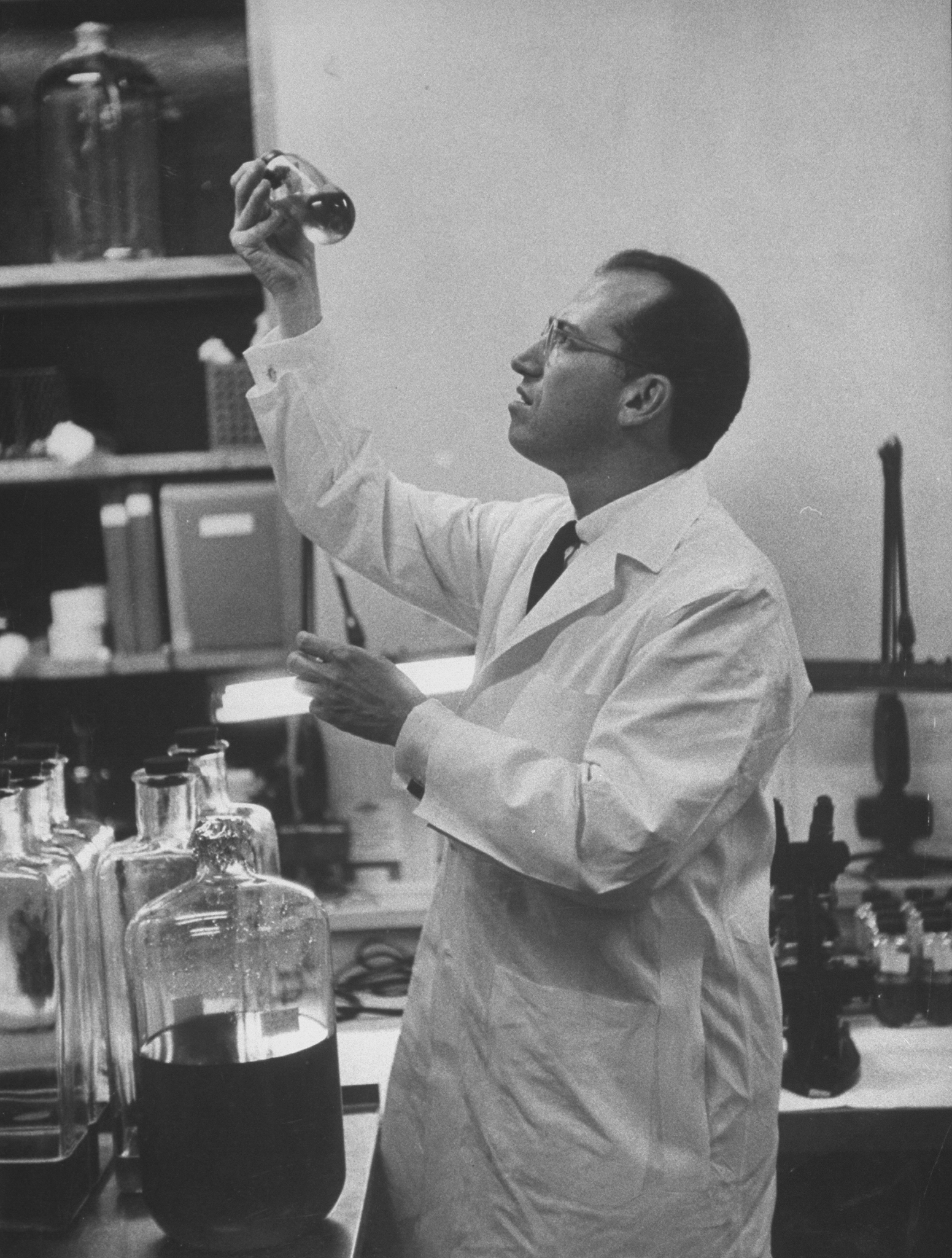 Jonas Salk in 1955, the year his polio vaccine was proven effective