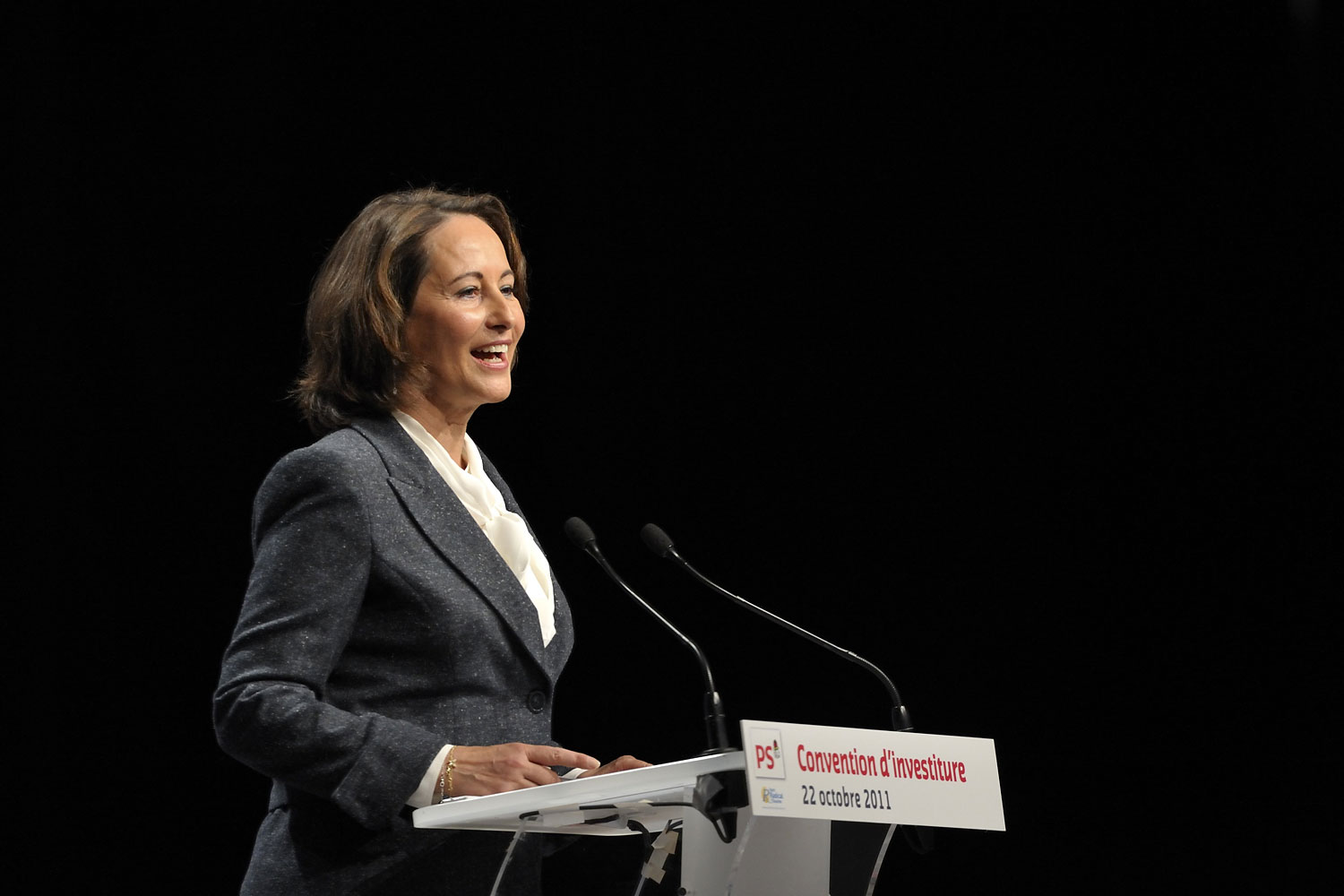 Segolene Royal gives a speech in Paris in 2011.