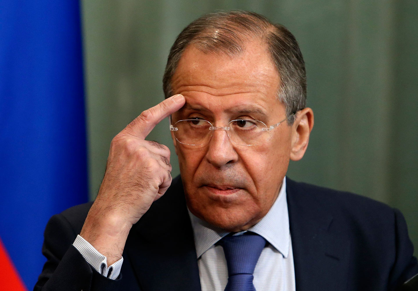 Russia's Foreign Minister Sergei Lavrov gestures during a news conference, after a meeting with his counterpart from Mozambique Oldemiro Baloi, in Moscow April 21, 2014.