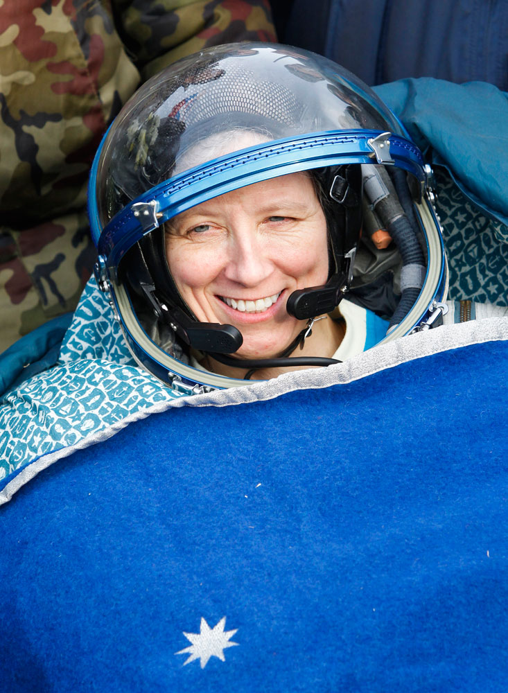 NASA astronaut Shannon Walker lands near the town of Arkalyk in northern Kazakhstan, on Nov. 26, 2010.