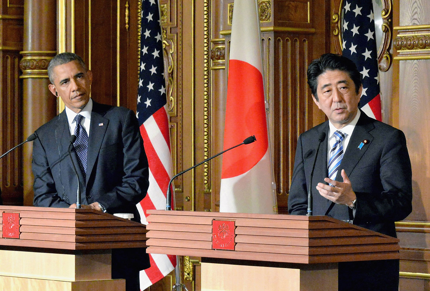 President Barack Obama and Prime Minister of Japan Shinzo Abe attend a joint news conference after their meeting at the State Guest House on April 24, 2014 in Tokyo.