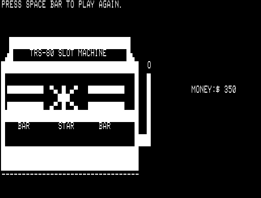SLOT/BAS, the TRS-80 game I wrote circa 1980