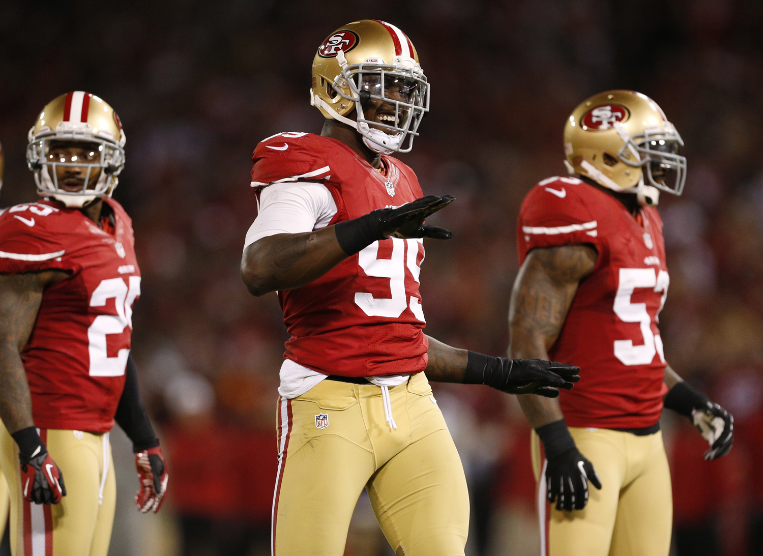 San Francisco 49ers outside linebacker Aldon Smith reacts after sacking Chicago Bears quarterback Jason Campbell during an NFL football game in San Francisco on Nov. 19, 2012