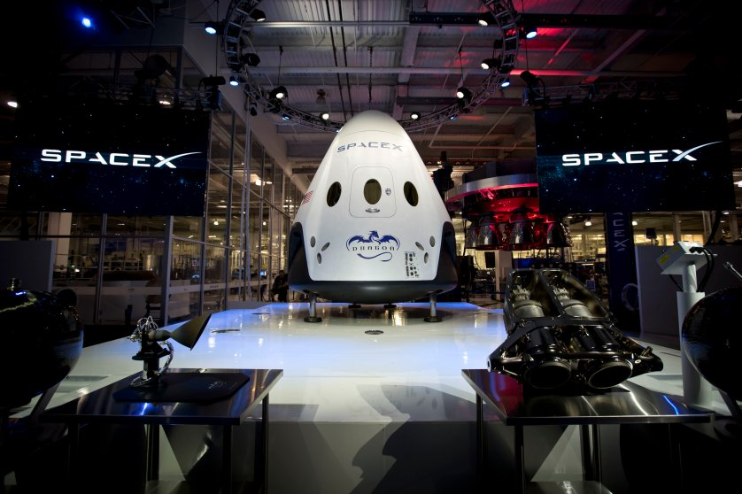On May 29, 2014, SpaceX's CEO Elon Musk (not pictured) unveiled the company's first manned spacecraft, Dragon V2, at a press conference in Hawthorne, Calif., on May 29, 2014.