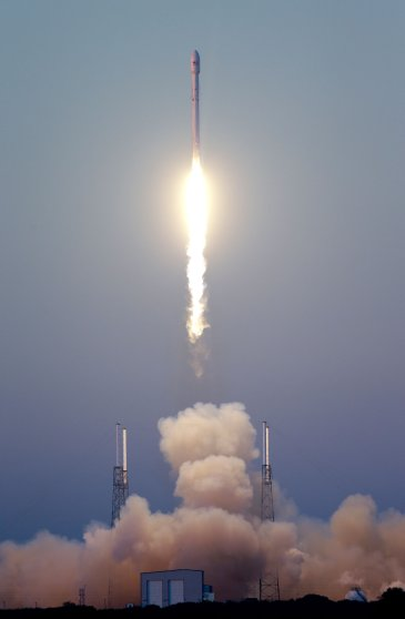 SpaceX embarked on its first deep space mission with the launch of this Falcon 9 SpaceX rocket on Feb. 11, 2015 at Cape Canaveral, Fla., after two previous failed attempts.
