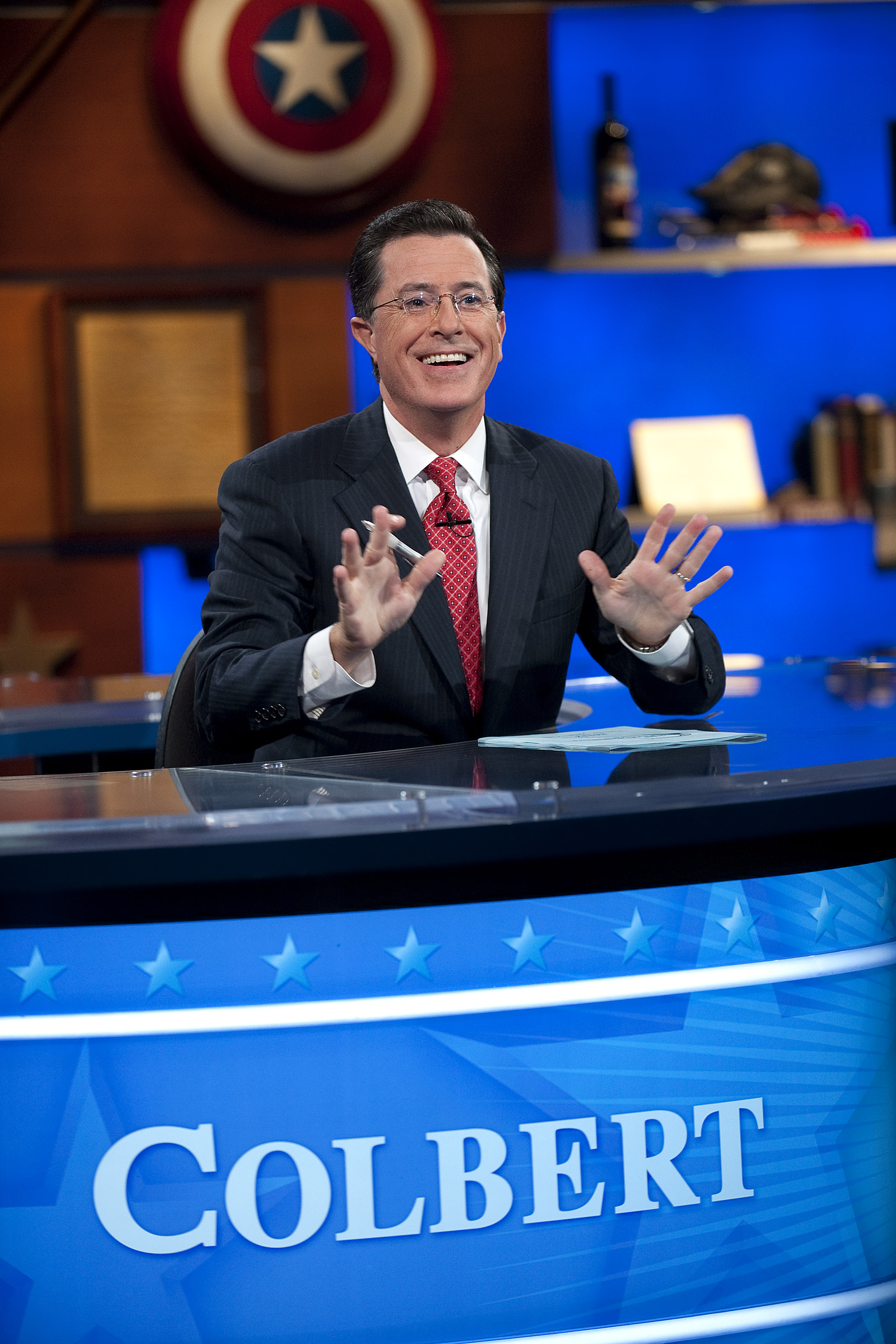 Stephen Colbert during the  Been There: Won That: The Returnification of the American-Do Troopscapeon  special of The Colbert Report on Sept. 8, 2010 in New York City.