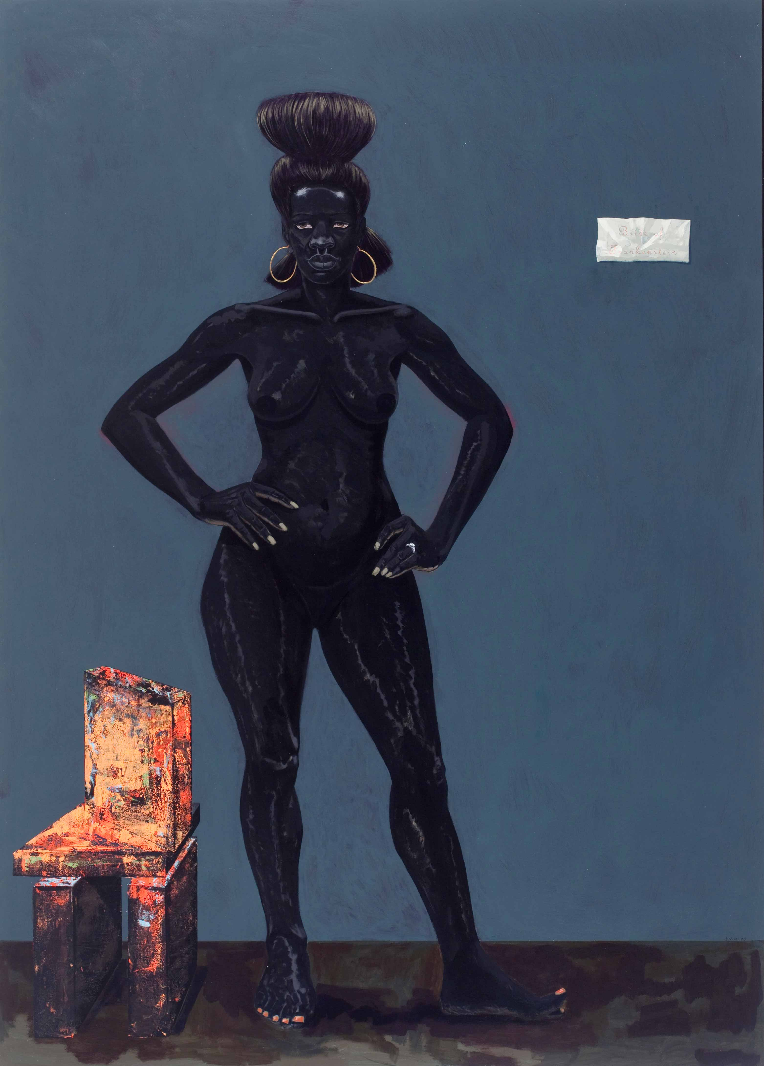 Kerry James Marshall, Bride of Frankenstein, 2009                        A monumental woman who stirs up notions of black sexuality and the anxieties it has sometimes aroused in white culture