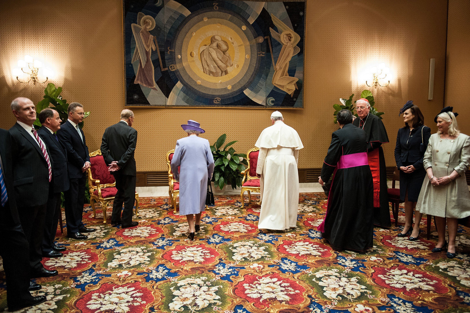 With Queen Elizabeth and Prince Philip at the Vatican.