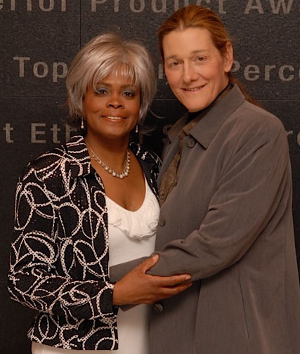 A portrait of Bina and Martine Rothblatt (left to right) photographed in April 2010.