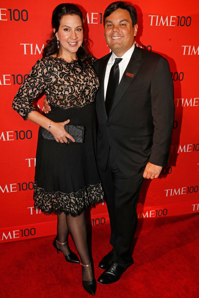 From left: Frozen songwriters and Honorees Kristen Anderson-Lopez and Robert Lopez at the Time 100 Gala at Jazz at Lincoln Center in New York on April, 29, 2014.