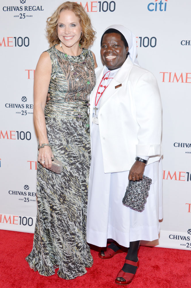 From left: Journalist Katie Couric and Honoree Sister Rosemary Nyirumbe attend the TIME 100 Gala, TIME's 100 most influential people in the world, at Jazz at Lincoln Center on April 29, 2014 in New York City.