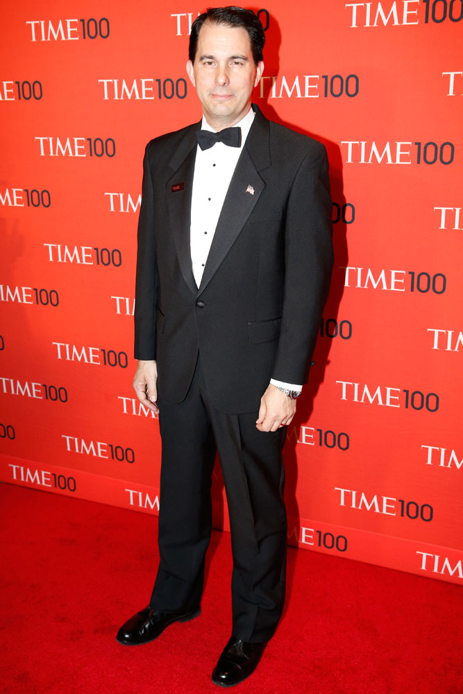 Honoree Scott Walker arrives at the Time 100 Gala at Jazz at Lincoln Center in New York on April, 29, 2014.