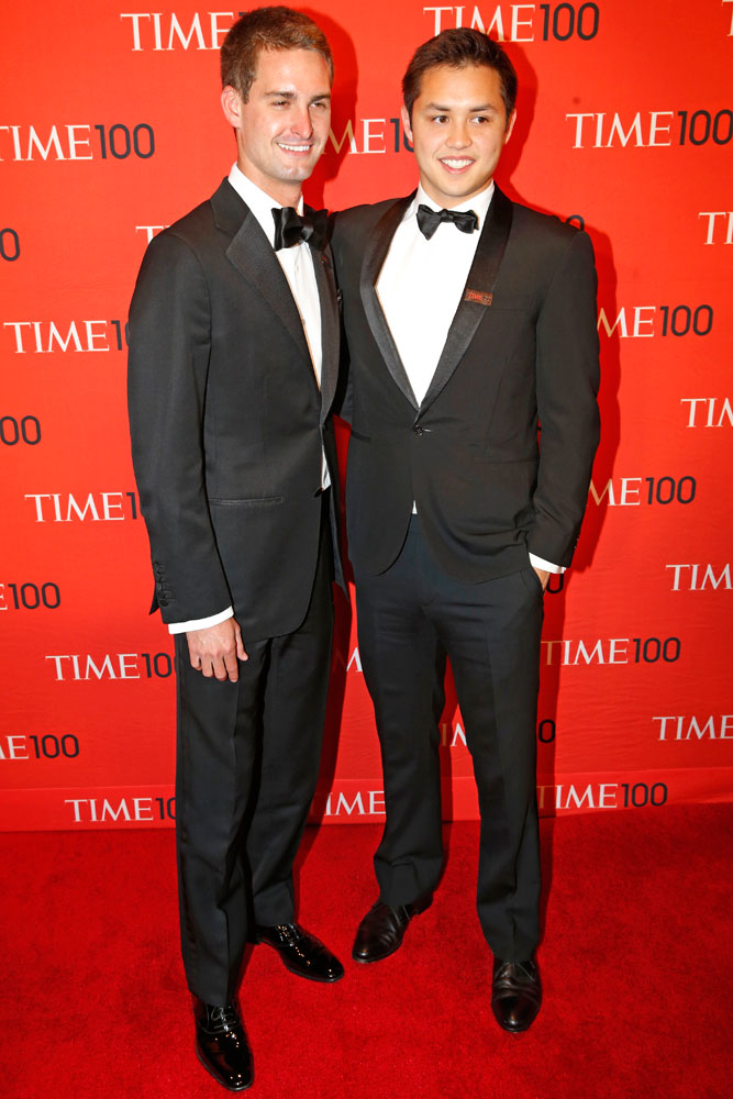 From left: Snapchat Founders and Honorees Evan Spiegel and Bobby Murphy at the Time 100 Gala at Jazz at Lincoln Center in New York on April, 29, 2014.