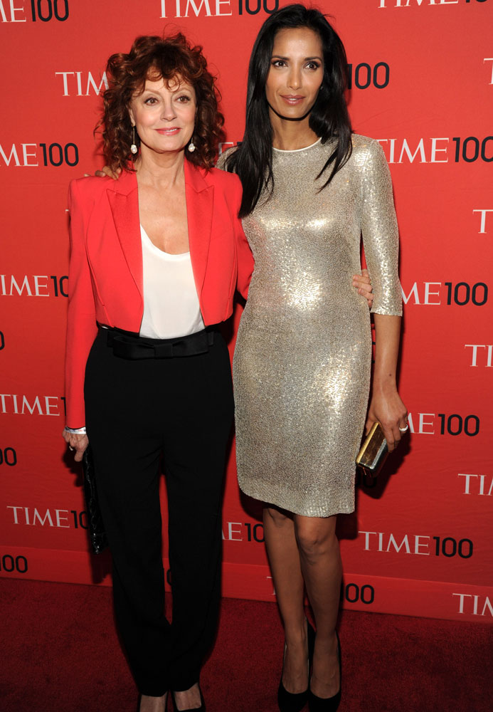 From left: Susan Sarandon and Padma Lakshmi attend the TIME 100 Gala, TIME's 100 most influential people in the world at Jazz at Lincoln Center on April 29, 2014 in New York City.