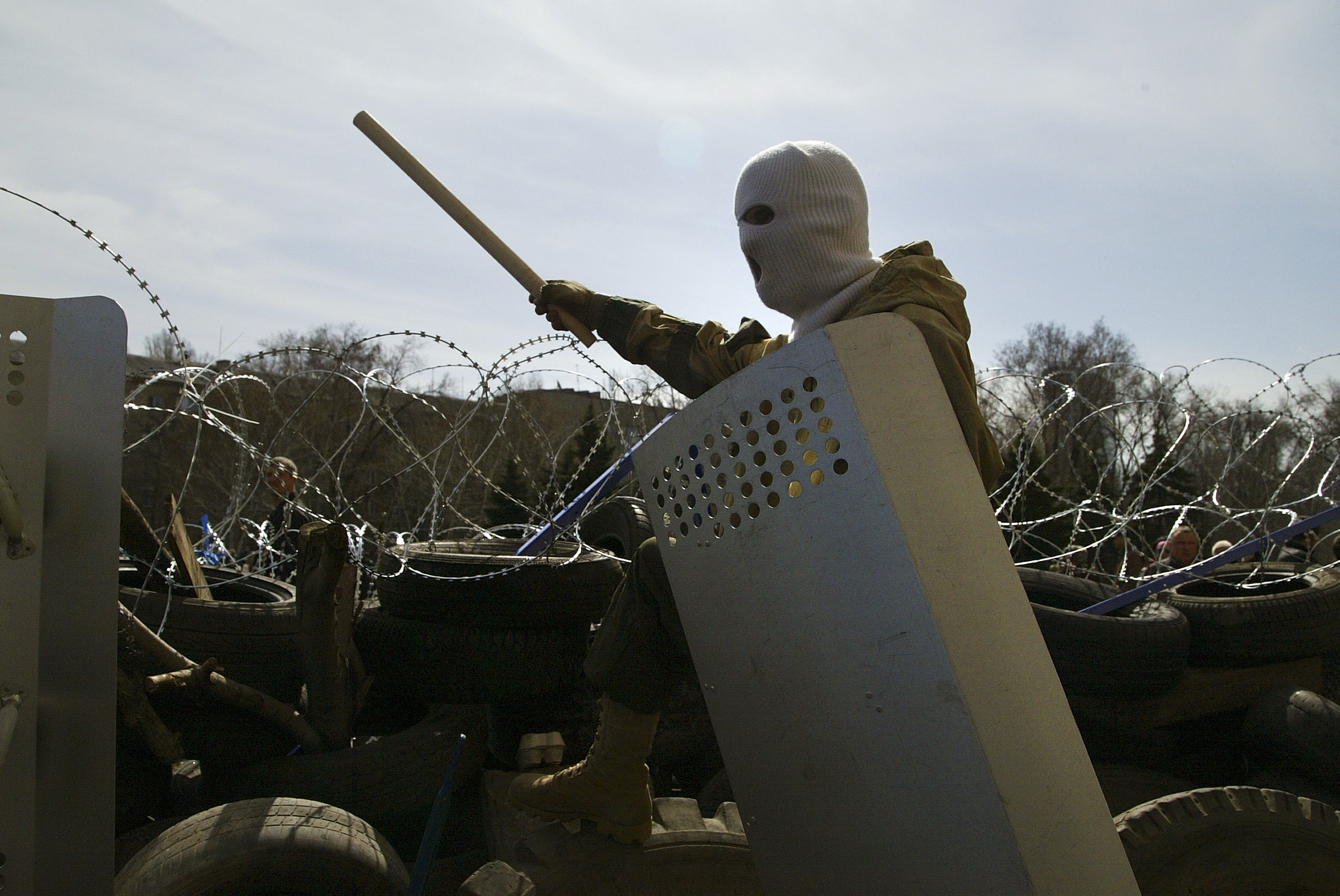 A masked pro-Russian protestor in the city of Donetsk, in eastern Ukraine.