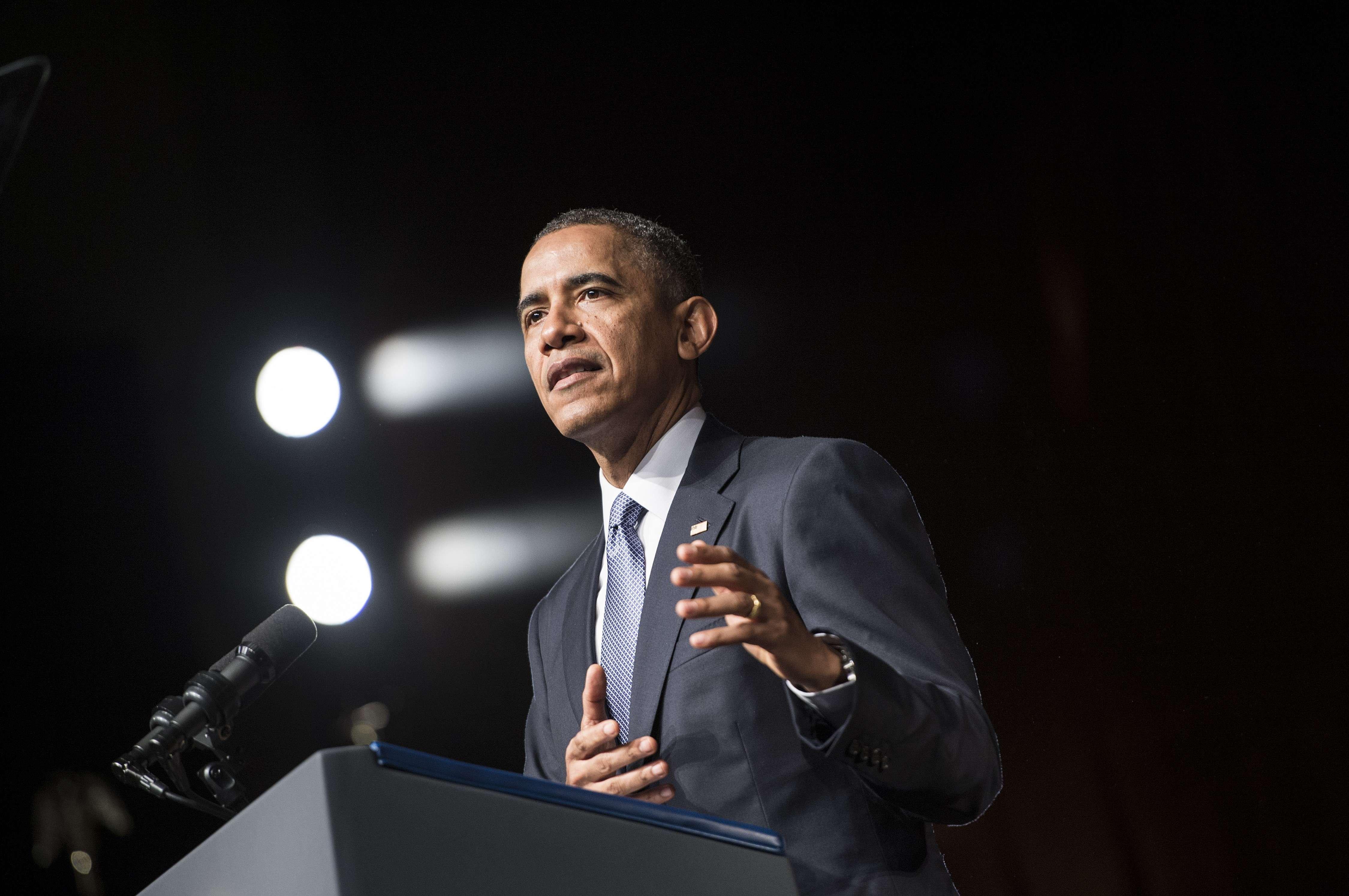 President Barack Obama speaks at the Lyndon B. Johnson Presidential Library April 10, 2014 in Austin, Texas.