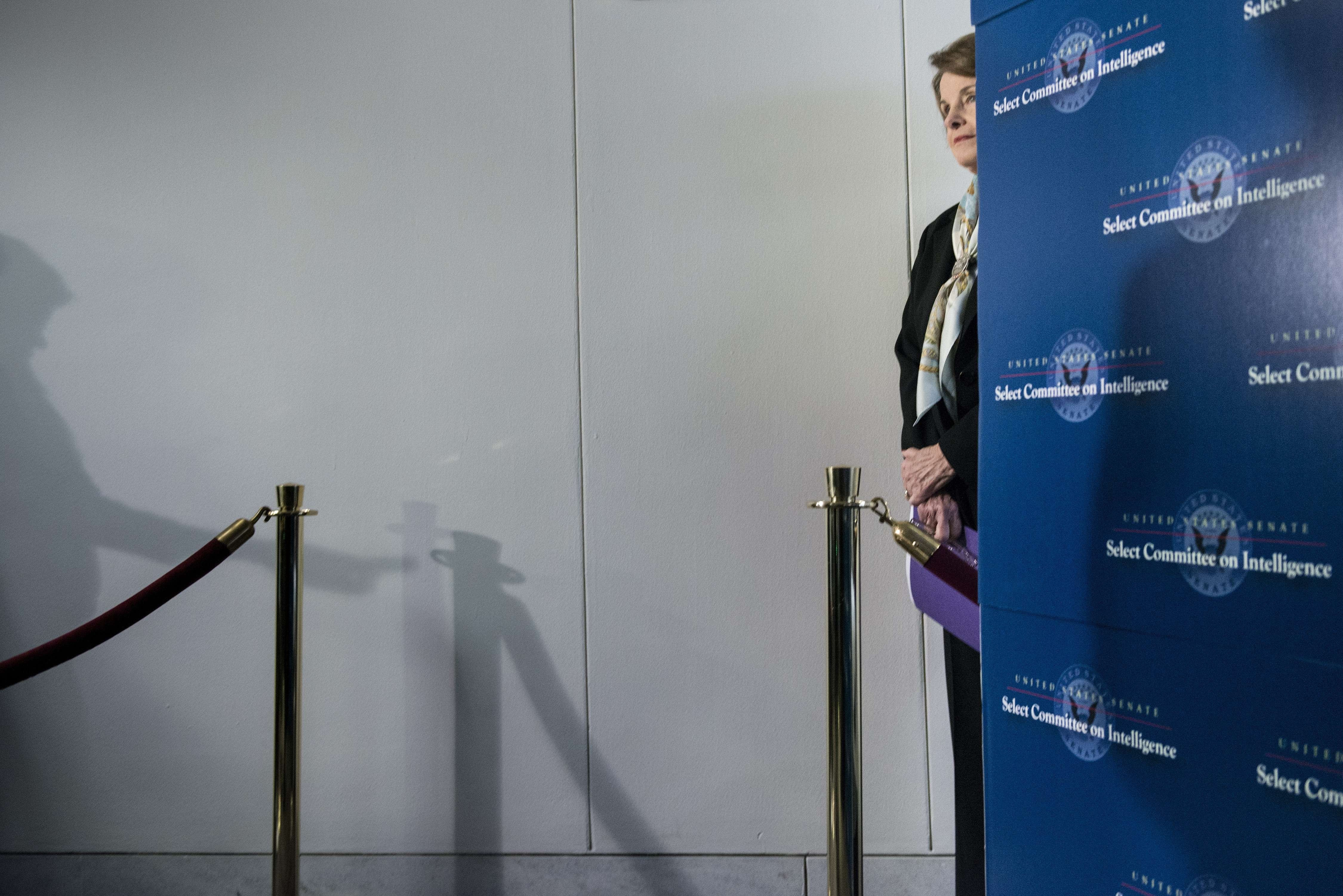 California Senator Dianne Feinstein waits to speak to the media after a closed meeting of the Senate Intelligence Committee on Capitol Hill in Washington on April 3, 2014