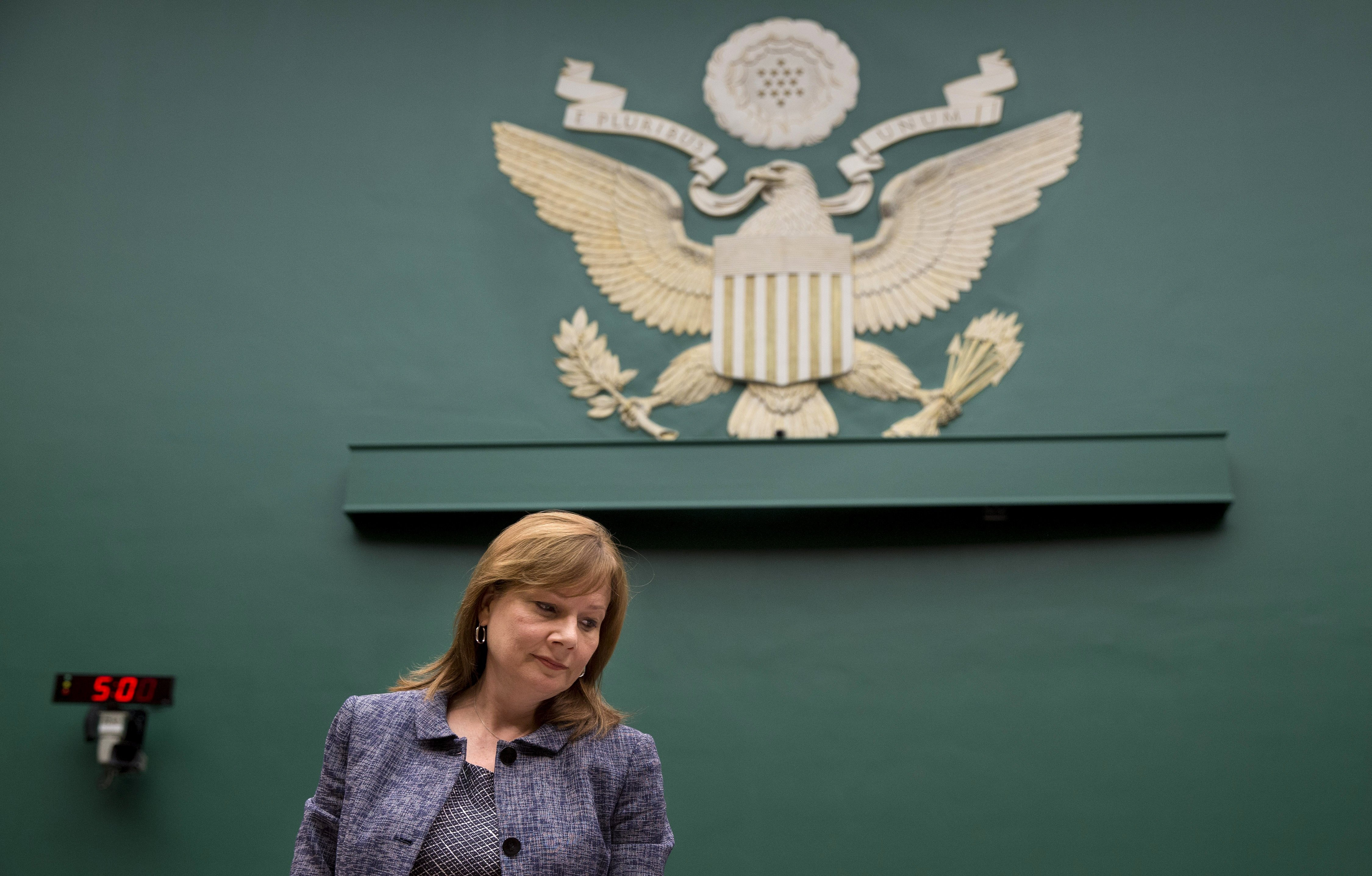 GM CEO Mary Barra takes her seat on Capitol Hill in Washington on April 1, 2014, prior to testifying before the House Energy and Commerce Subcommittee on Oversight and Investigations