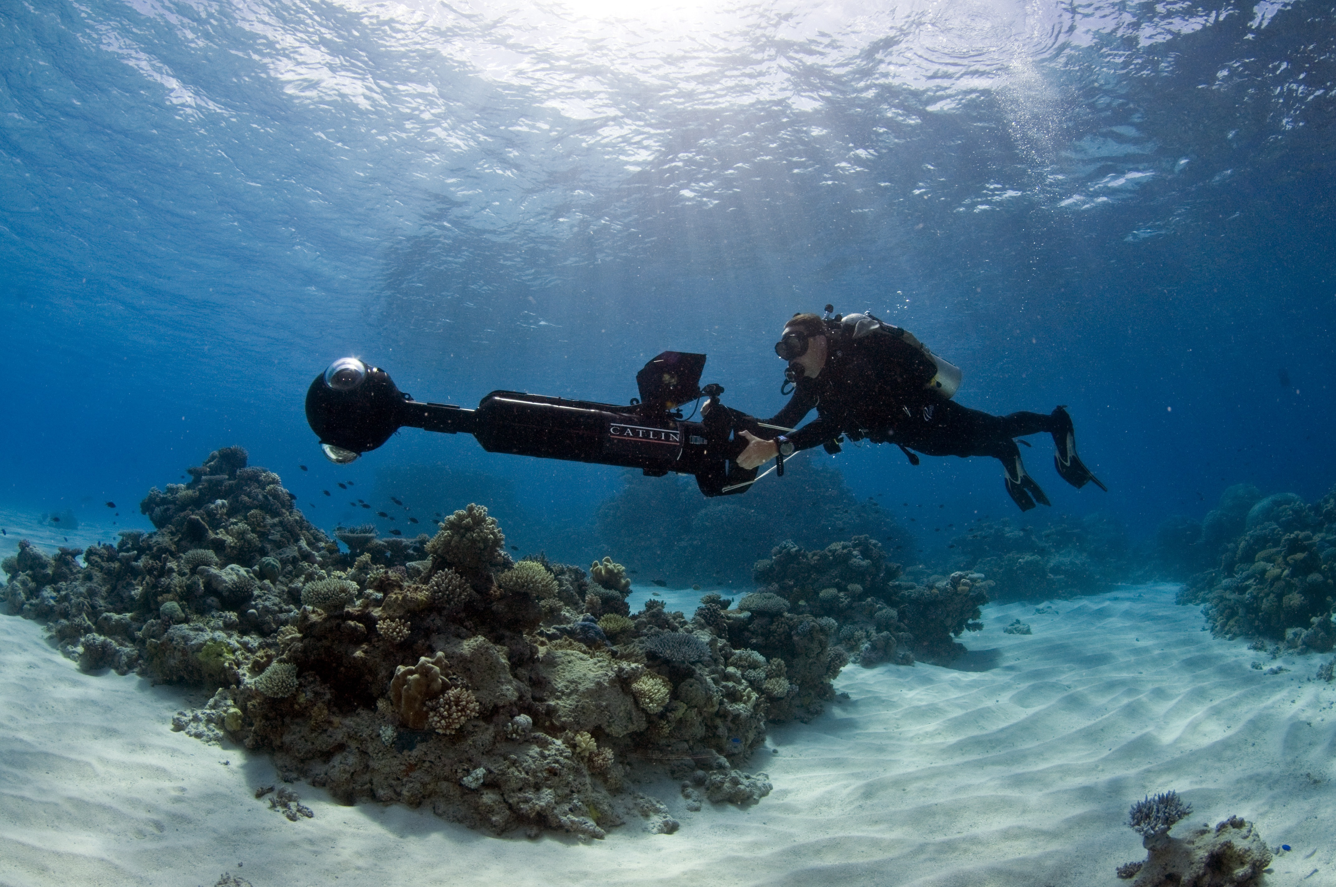 The SVII camera can take hundreds of photos of coral reefs, turning them into 360-degree panoramas