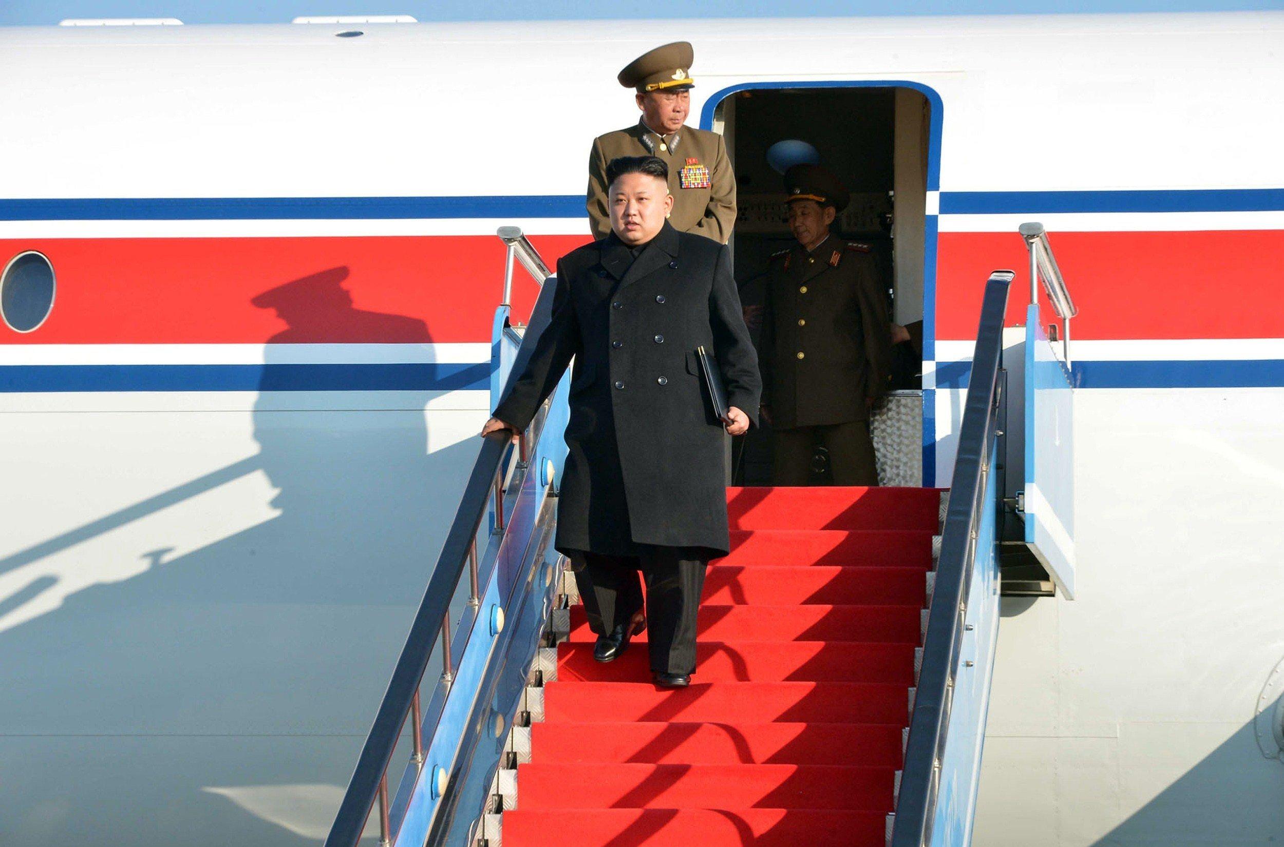 North Korean leader Kim Jong-Un arriving at the Samjiyong airport in Ryaggang province in North Korea, April 1, 2014.