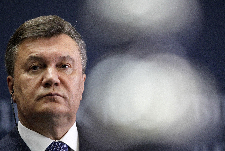 Deposed President Viktor Yanukovych at a news conference in Belgrade, Serbia, June 6, 2013.