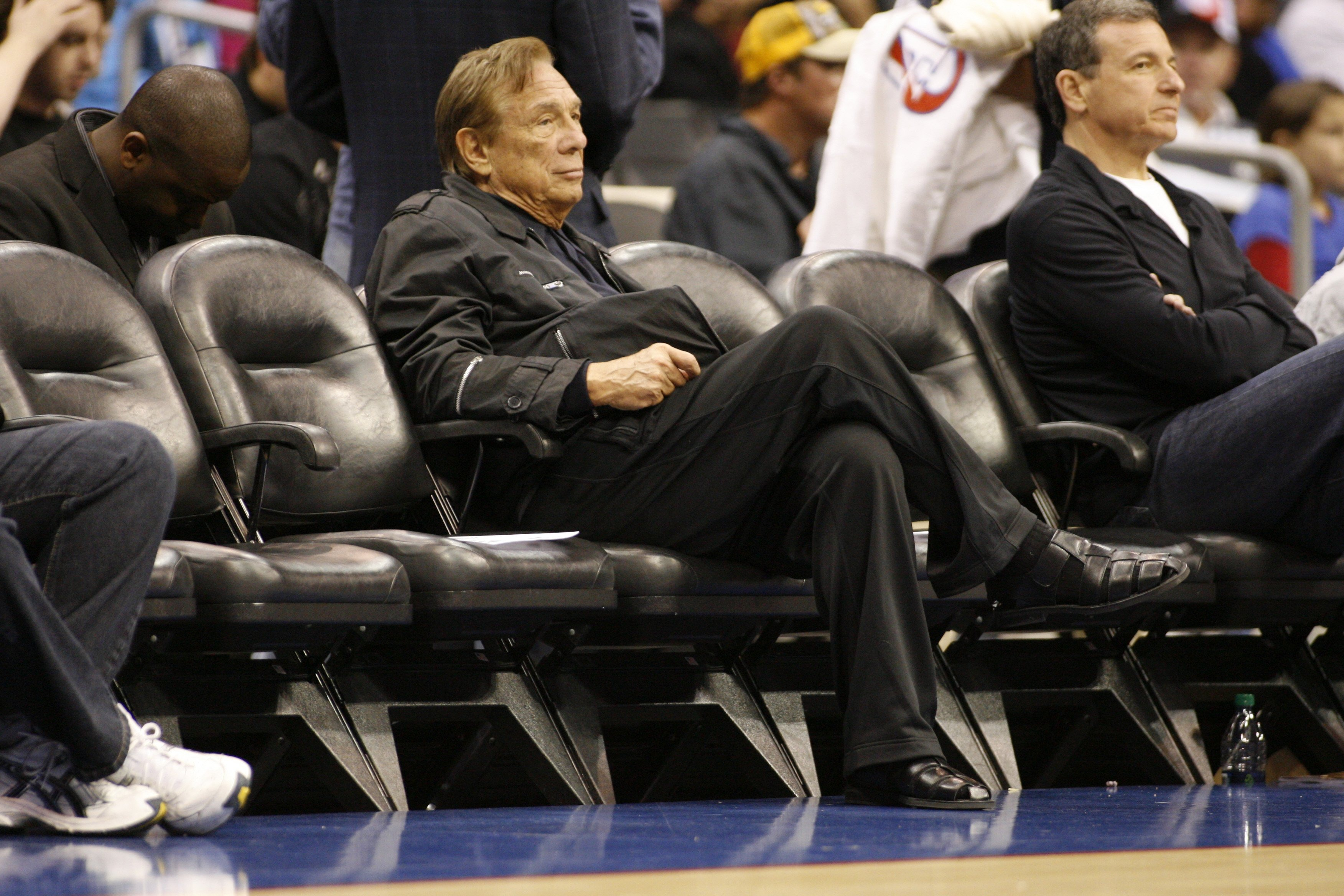 Los Angeles Clippers owner Donald Sterling sits courtside at the NBA basketball game between the New York Knicks and the Los Angeles Clippers in Los Angeles on April 4, 2010.