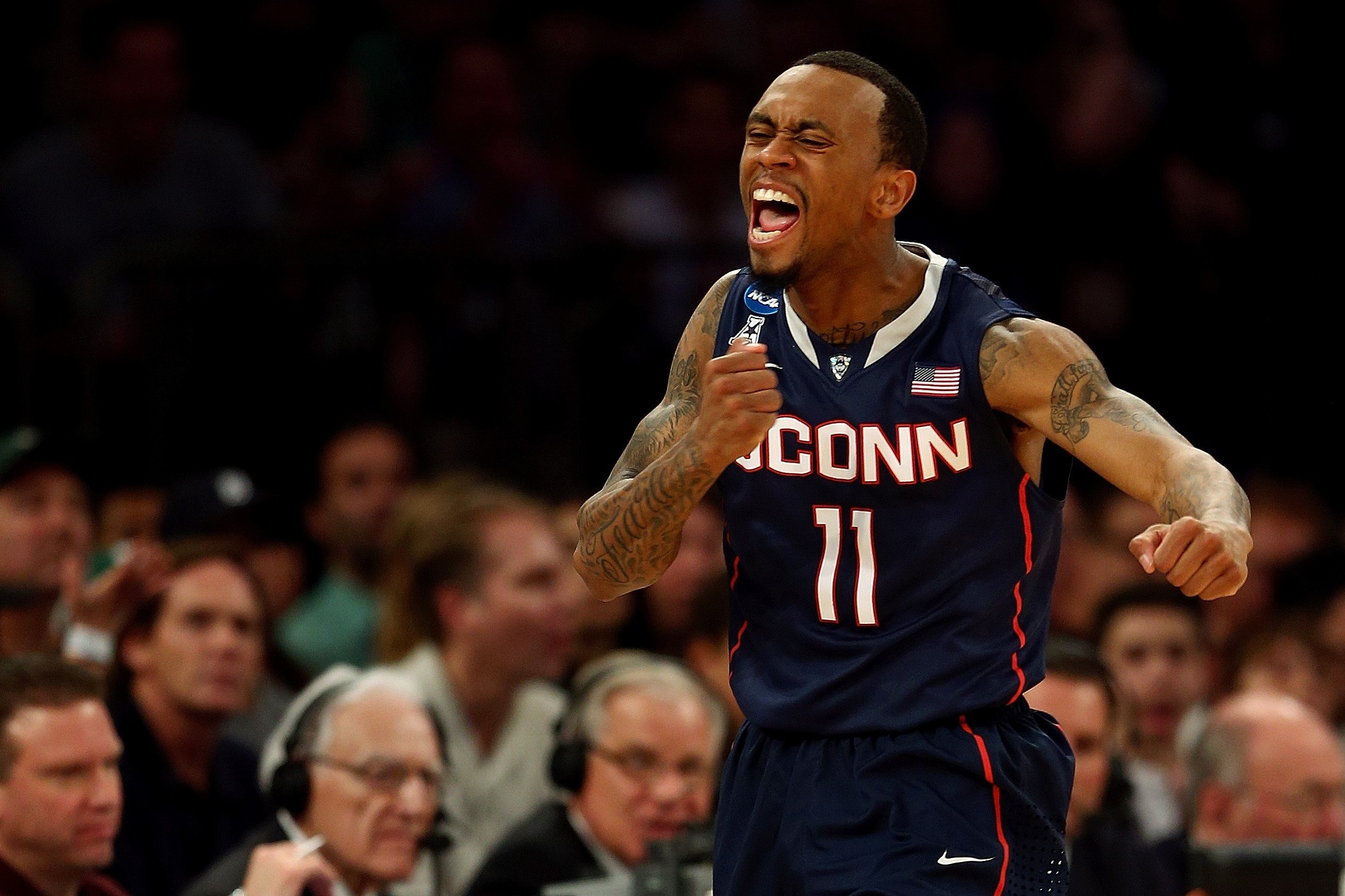 Ryan Boatright of the Connecticut Huskies reacts after a turnover by the Michigan State Spartans in the second half of the East Regional Final of the 2014 NCAA Men's Basketball Tournament at Madison Square Garden on March 30, 2014 in New York City.