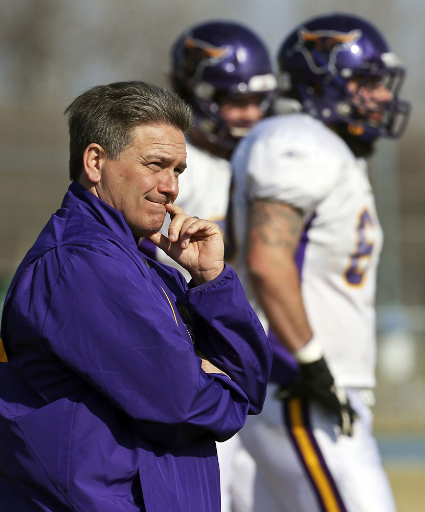 Minnesota State–Mankato football coach Todd Hoffner mostly observed practice and did not take an active role, April 18, 2014, in Mankato, MN.