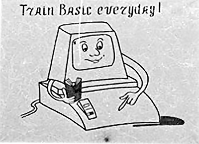 A pro-BASIC sign, as seen in a Russian school computer lab in the mid-1980s