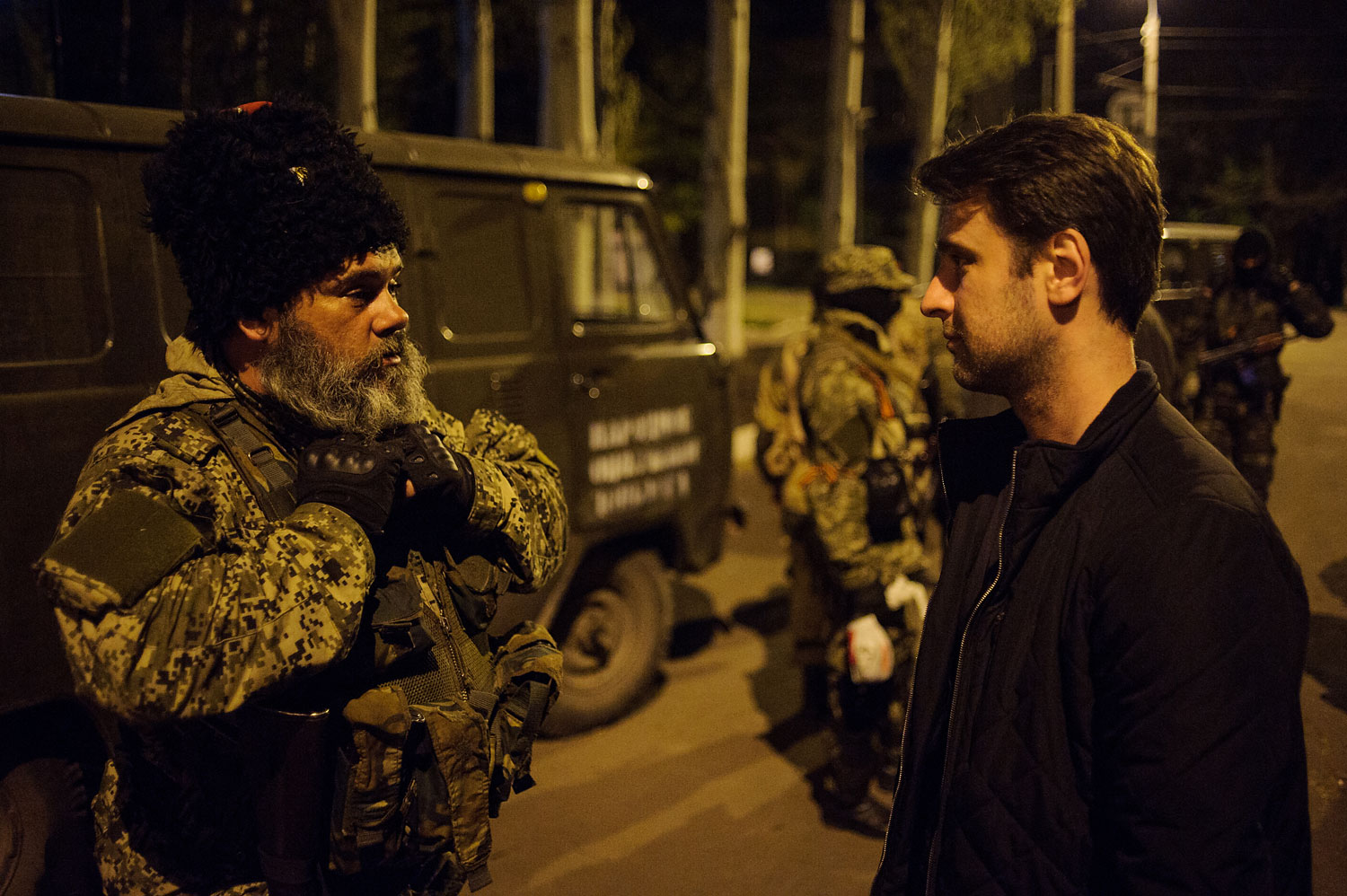 Mozhaev talks with TIME correspondent Simon Shuster in the town of Kramatorsk on April 21