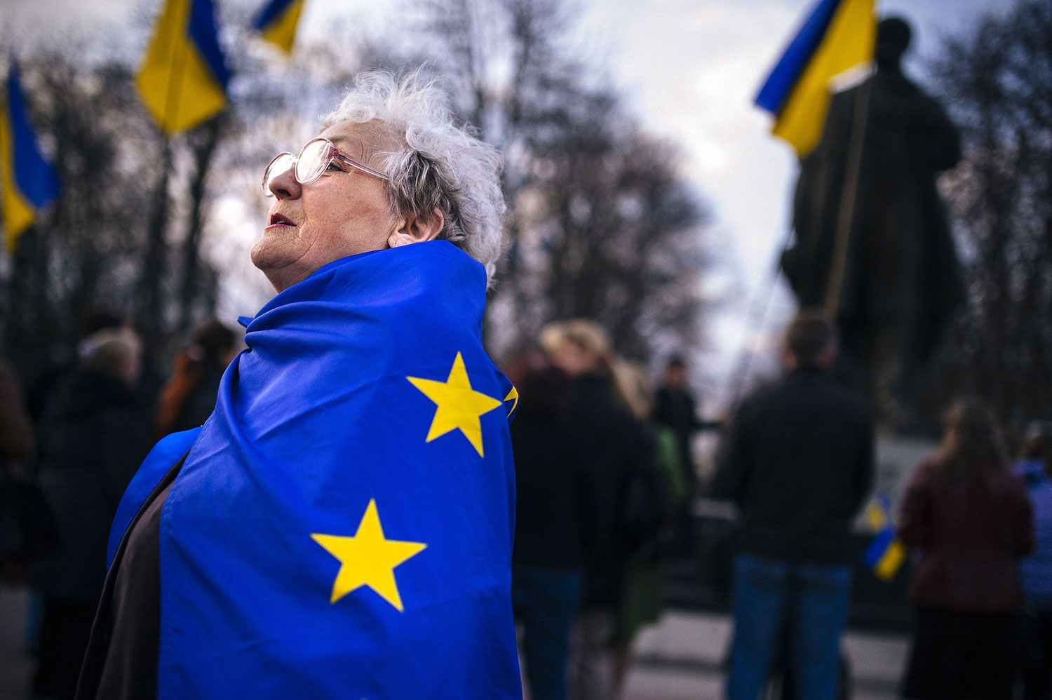 An elderly woman wrapped with an European Union flag attends a pro-Ukraine rally in the eastern Ukrainian city of Lugansk on April 15, 2014.
