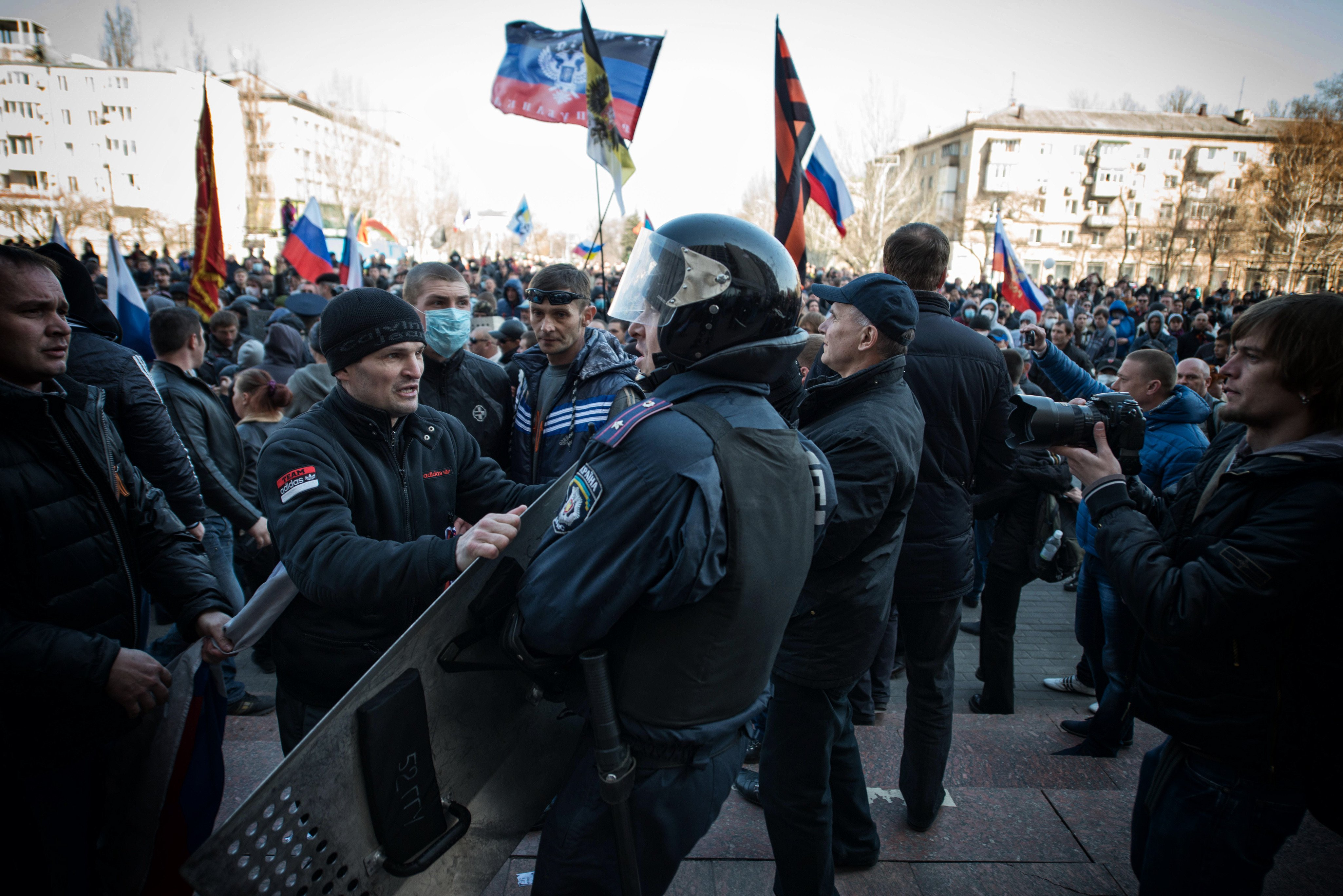 Pro-Russian protesters stormed the regional building of Donetsk on April 6, 2014.