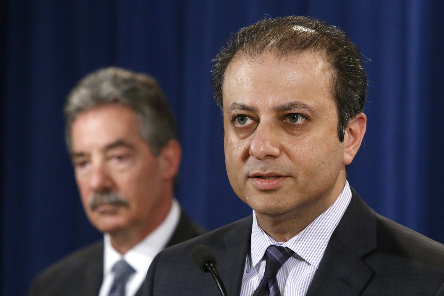 U.S. Attorney for the Southern District of New York Preet Bharara speaks during an announcement of a settlement with Anadarko Petroleum Corp at the Justice Department in Washington April 3, 2014.