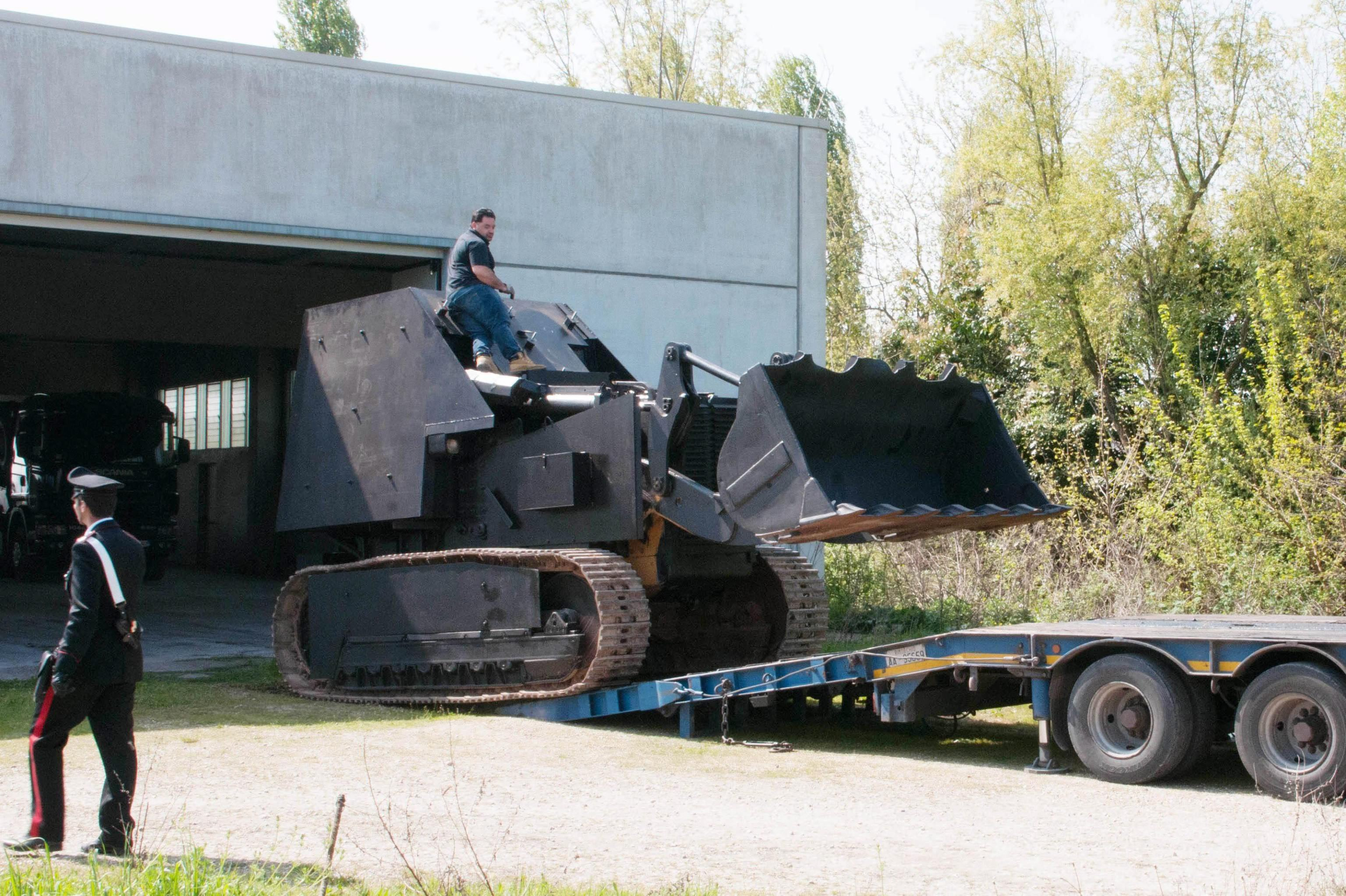 A tractor transformed into a tank is confiscated during an antiterrorism operation in Casale di Scodosia, Veneto region, Italy, on April 2, 2014.