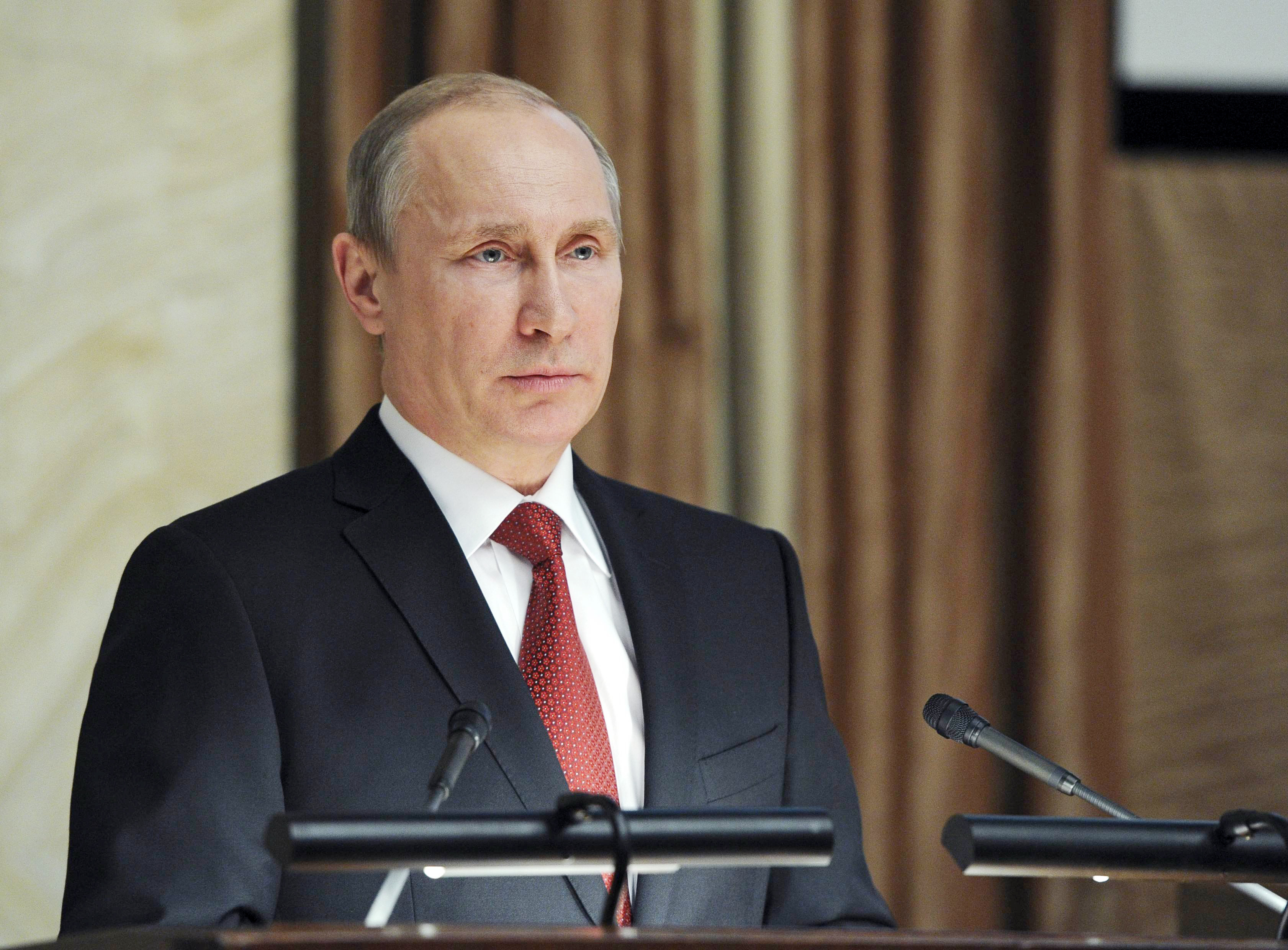 Russia's President Vladimir Putin delivers a speech during a session of the board of the FSB security service in Moscow April 7, 2014.