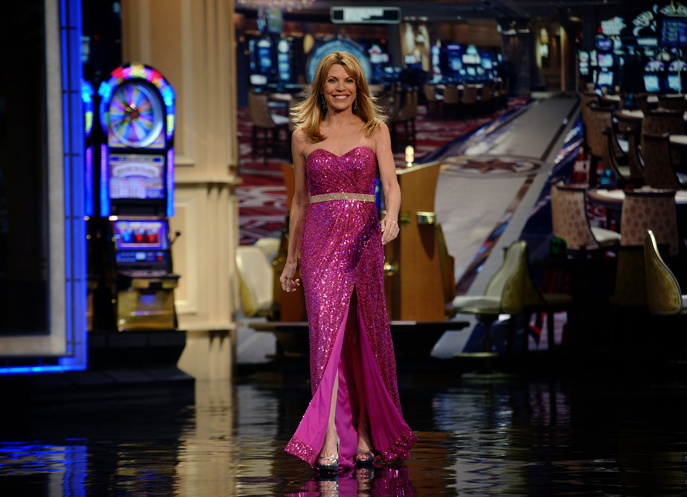 Vanna White, who has been turning letters on the Wheel of Fortune for 30 years, walks onstage for another taping on July, 30, 2013 in Las Vegas, NV.